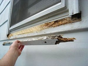 Rotted wooden window sill